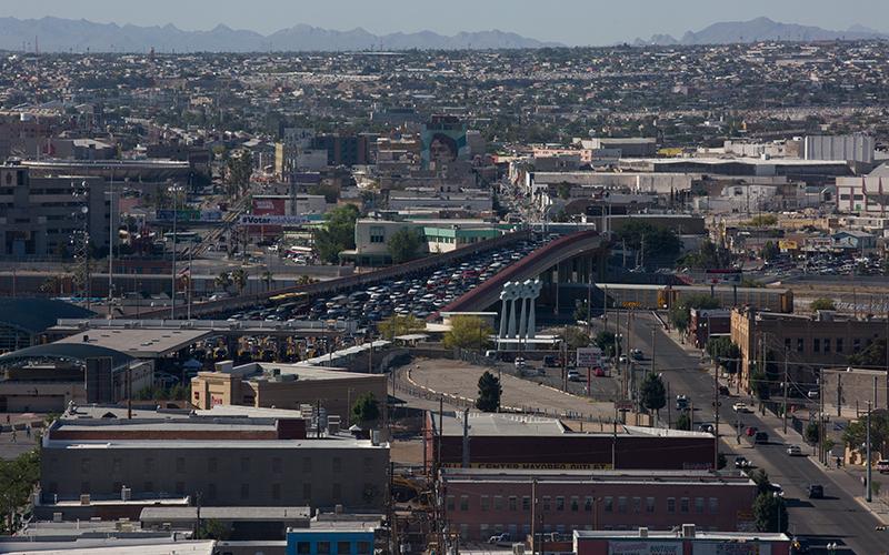 People wait to cross the border into El Paso, Texas from Ciudad Juarez, Chihuahua.